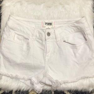 VS PINK EUC white short shorts sz 2